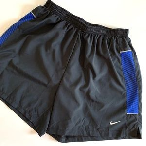 Nike Dri Fit Black Blue Running Shorts Brief Lined